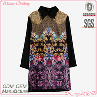 Ladies' fashion jacquard flower pattern long sleeves casual high quality direct manufacturer frivolous dress order