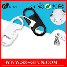 Shenzhen Two Funtion Keychain USB Line Mini Beer Opener Lighting Data Charging Lm Cable USB Can OEM Logo Colors