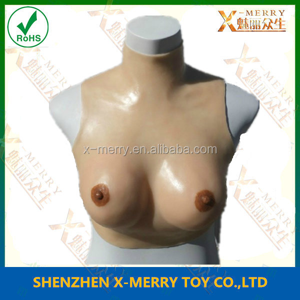 X-MERRY Realistic Female Breast D Cup Sexy Female Rubber Latex Prop For crossdressing, make up, transgender