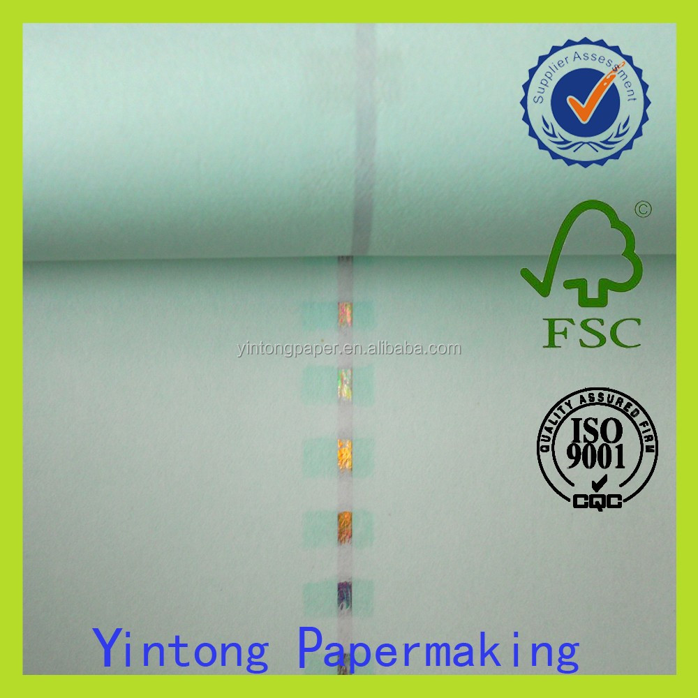 custom rolling watermark paper / security fiber papers with UV thread