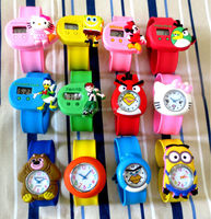 MOQ 100pcs in Your Logo hello kitty silicone slap watch for christmas gift