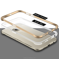 Soft Arrylic Back Clear Phone Case with Aluminum Metal Bumper Frame Case for Samsung Galaxy S6 / S6 Edge for iPhone 6 6 Plus