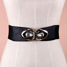 Wholesale teardrop crystal inlaid flower pattern alloy buckle sex women lady wide PU waist belt