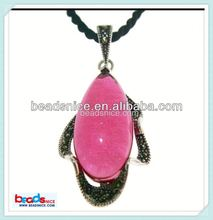 Beadsnice ID 27198 Pendant with Imitation ruby marcasite necklace thailand sterling silver teardrop fashion pendant