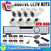 8CH CCTV Kits with 4pcs Dome 4pcs Bullets camera 8ch CCTV DVR 4TB Hard Disk for home safety