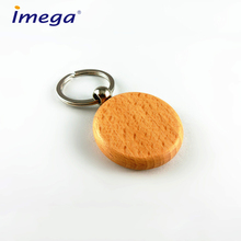 Simple Design Logo Round Shape Blank Wooden Keychain / Laser Engraved custom wood key chain Wholesale