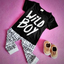 INS Fashion Baby Kids Clothing Sets Wild Boys Printed Children Boys Clothing Set Newborn Cotton Baby Clothes Set