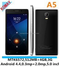 KOMAY Cheap android os 3g smart phone A5 mtk6572 dual core dual sim cards 5.0 inch screen 512mb+4gb smart mobile phone
