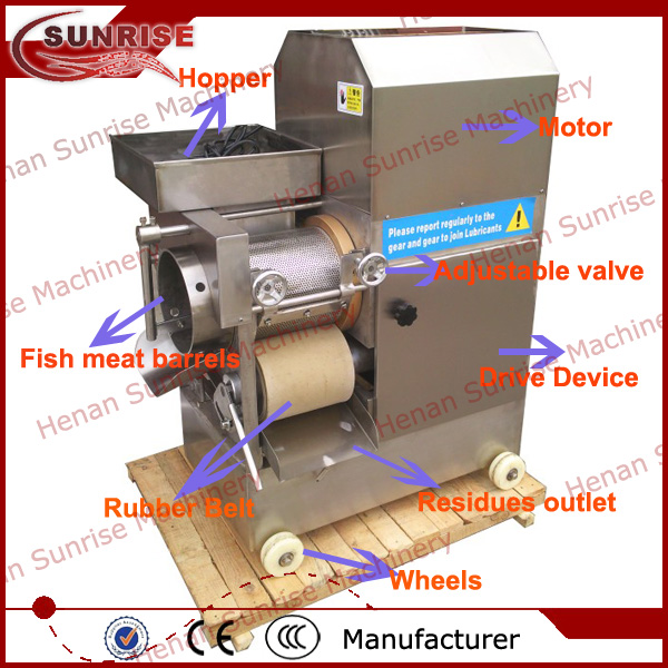 stainless steel fish meat and bone separator