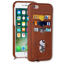 PU Wallet Credit Card Holder Cover Leather Thin Back Case Cover For iPhone 6 6s Plus