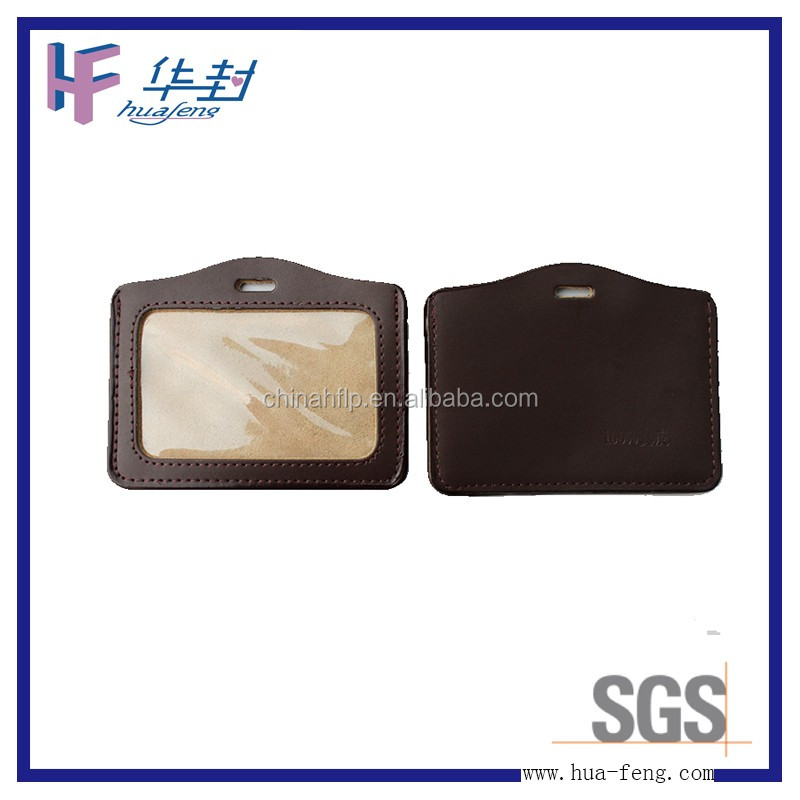 Classic type leather school id card holder