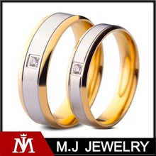 Engraved Crystal Jewelry 18k Gold Silver Lovers Pair Wedding Ring for Women and Men