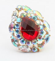 R350 FREE SHIPPING Latest Gold Finger Ring Designs Water Shape Finger Ring AB Crystal Acrylic Material Cheap Stock New