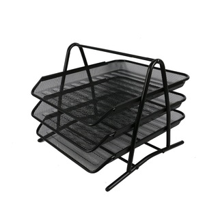 Office mesh 3 tier 2tier wire mesh foldable organizer stationery desk desktop paper document file tray