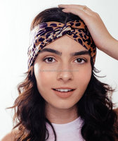 cheap Multi Moisture Wicking streth leopard print elastic Headwear girl hair sport headband for Sports&Yoga