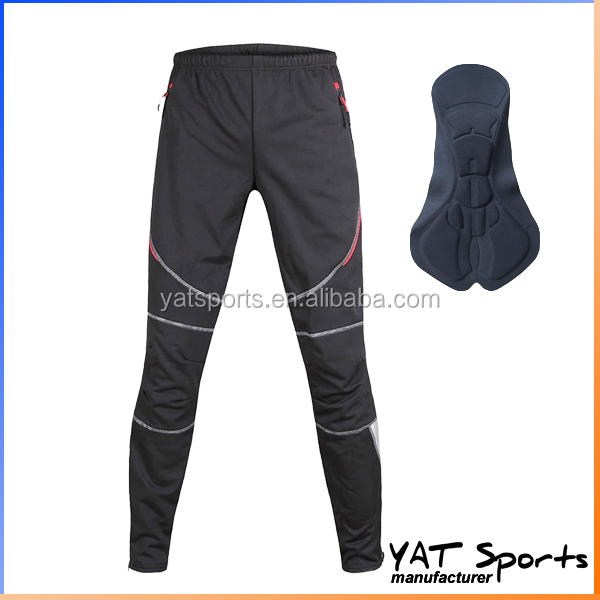 Opening leg zipper winter fleece polyester fabrics Reflective custom legging pants thermal cycling wear