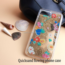 2017 Wholesale Colorful Flower Glitter Custom Design TPU Rubber Flexible Soft Cover for iPhone 7 Cell Phone