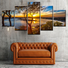 5 Pieces Sunshine Forest Modern Wall Art Canvas Printed Painting HD Prints Modular Poster Wall Pictures for Home Decor