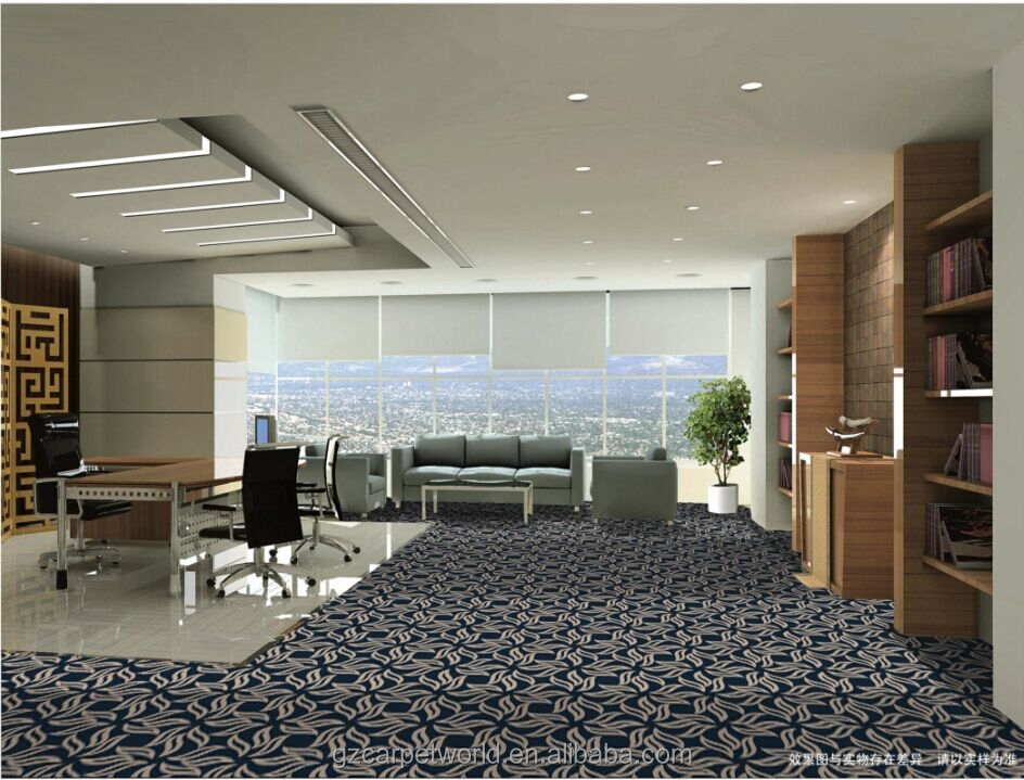 Floral Printed Partten Blue Office Carpet/ Rugs