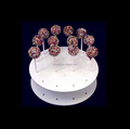 Desktop round shaped white color Acrylic lollipop display stand