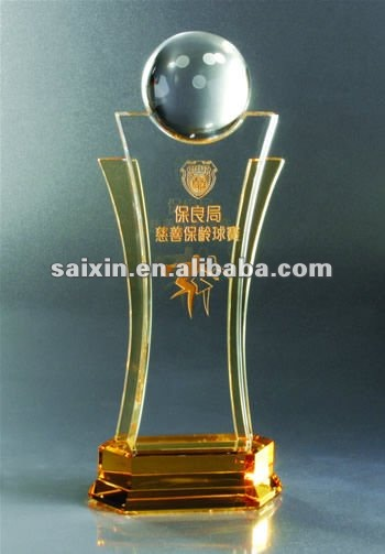 bowling Crystal trophy for crystal gifts and home decoration