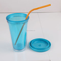 Unique promotional popular plastic cup with straw