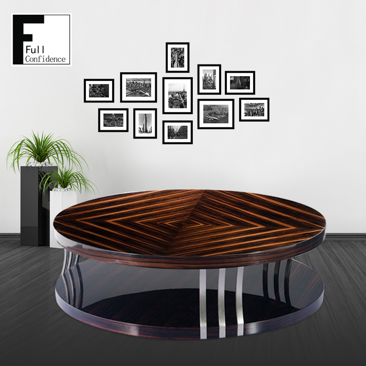 Ebony High Gloss Closed Lacquer Finish Round Coffee Table