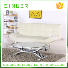 Modern sofa metal frame folding three seaters leather sofa bed