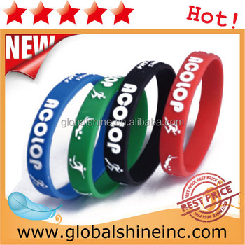 debossed silicone rubber bracelets with filled in color