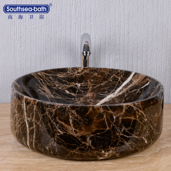 Round shape china supplier modern natural stone bathroom sink with skirt