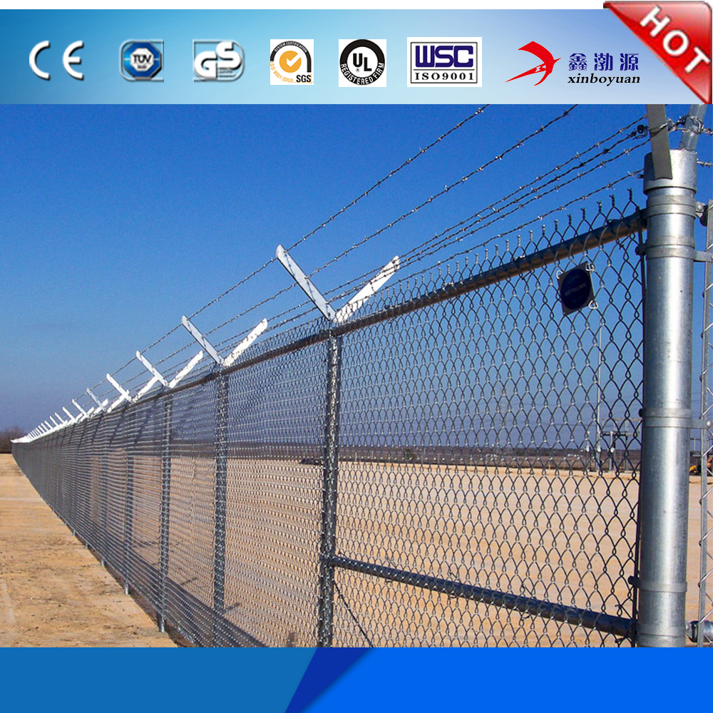 High quality best price pvc/pe coated type Stadium Fence/chain link fence top barbed wire for hot sale (Factory price)