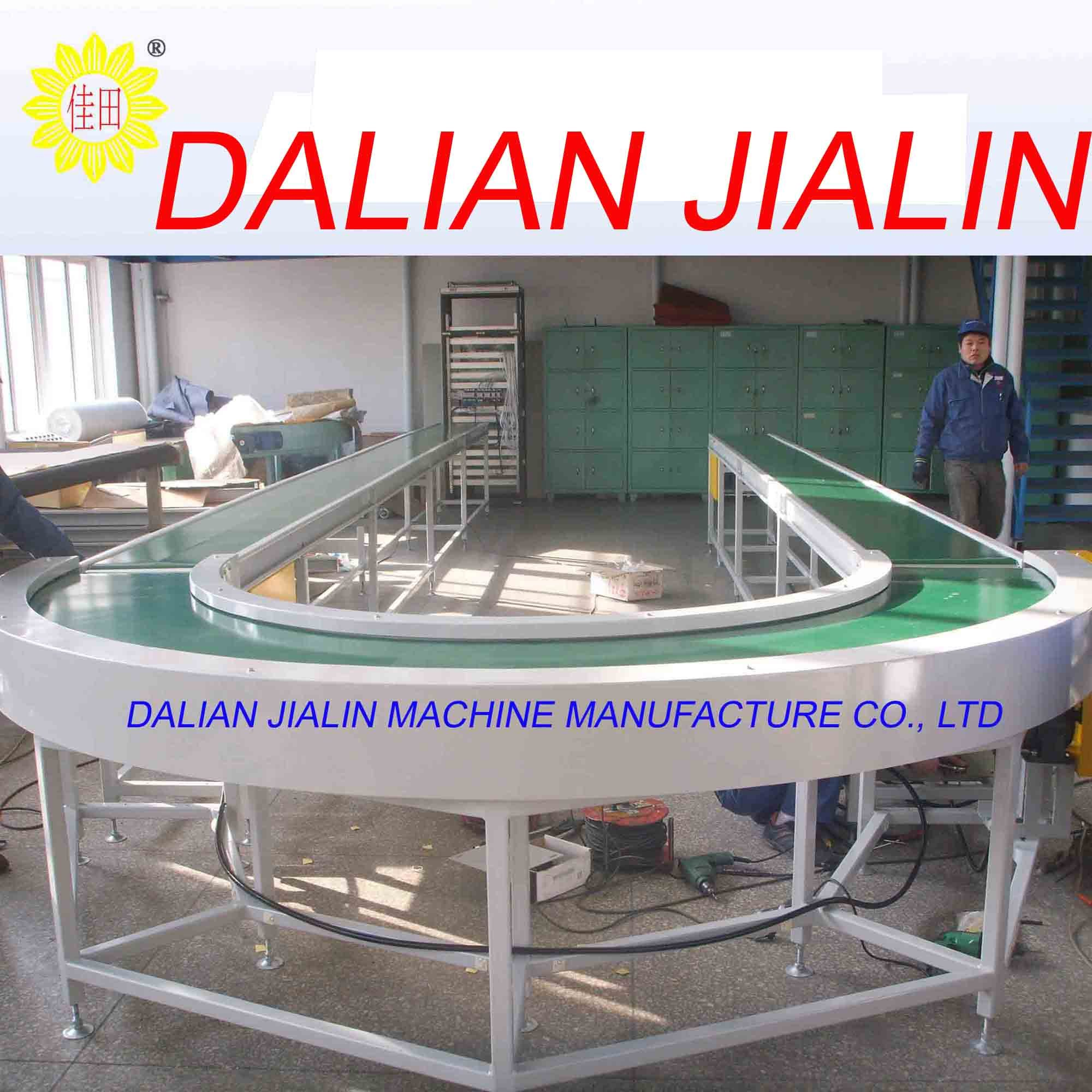 Easy flexible double chain driving curved rubber conveyor/power curved rubber conveyor