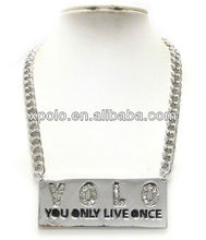 Crystal deco yolo metal plate and thick chain necklace
