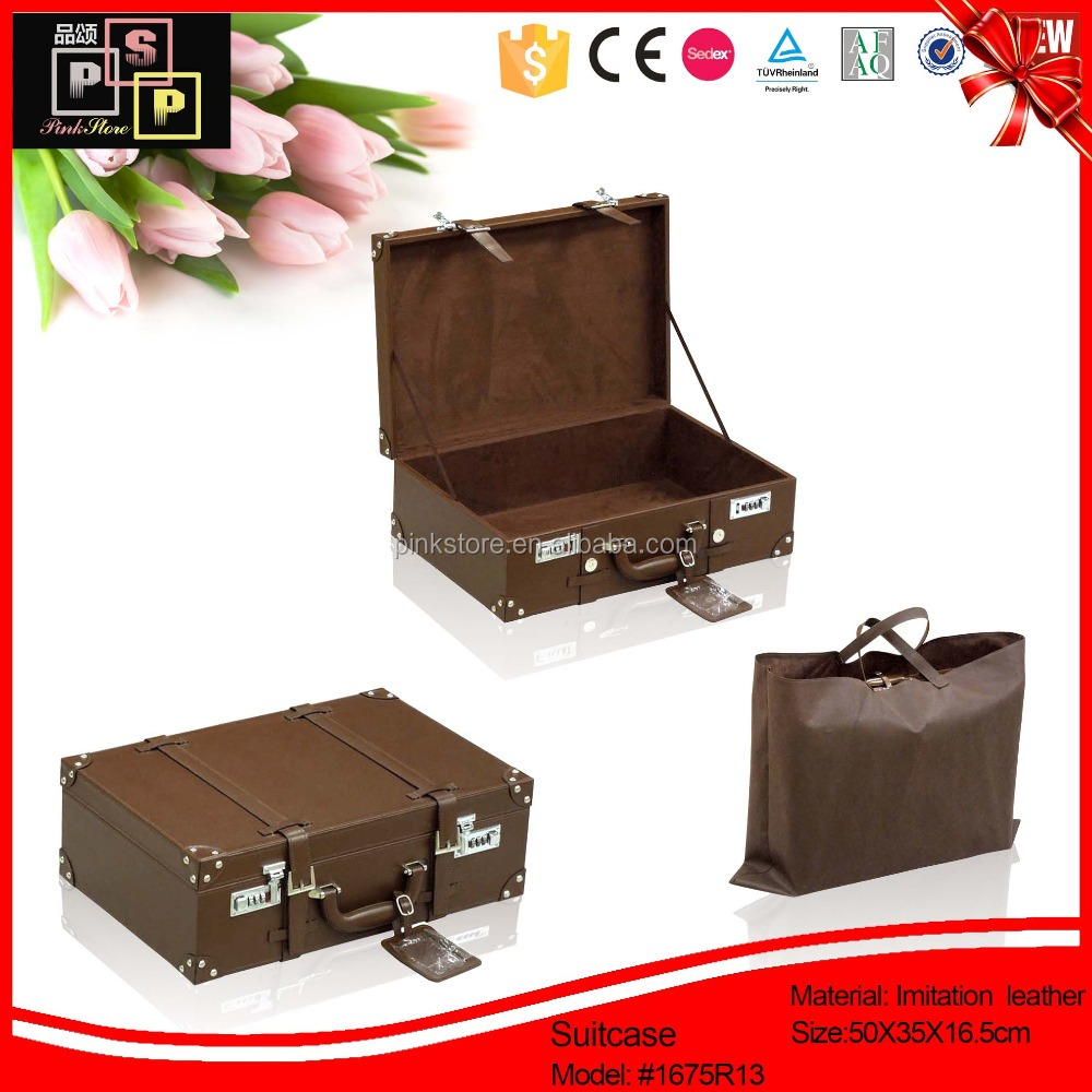 Hello Pink Sedex Supplier Vintage PU Leather large suitcase sizes