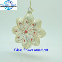 Vintage Christmas golden flower hand made glass decoration pieces from Shenzhen factory