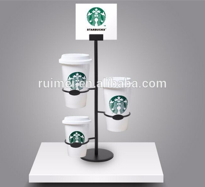 display stand for Coffee cup counter top wire hanging milk tea