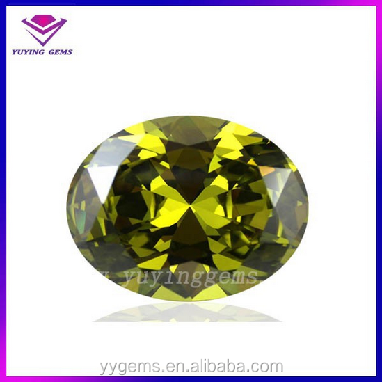 AAA gems buyers oval peridot cubic zirconia stone wholesale