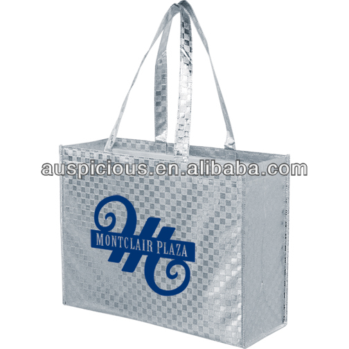 Wholesale foldable silver lamination non woven tote bags