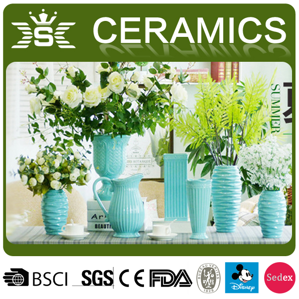 Blue white vase wedding home center pieces decoration green tall vase