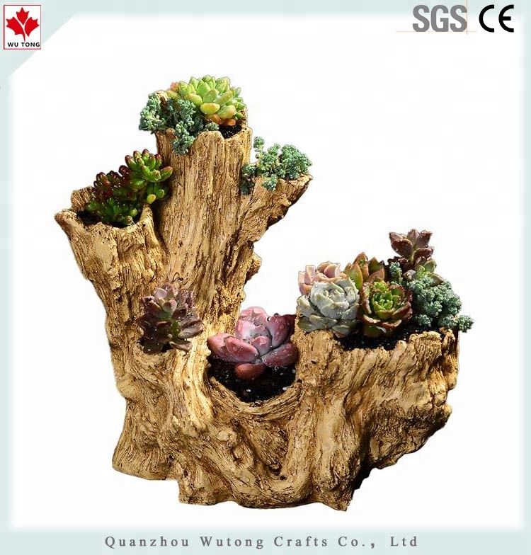 Hot sale different types tree stump custom printed flower pots