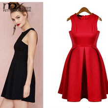 2015 New Dresses Women Clothes Fall Fashion Sheds Solid Sleeveless Casual Party Clothes Slim Waist Ladies Evening Dress
