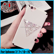 Luxury rhombus glitter rhinestone heart shape camera hole silk grain pattern leather phone silicon case for iphone 7 7plus