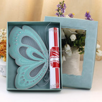 lovely green butterfly elegant scroll invitations plastic wedding invitation cards