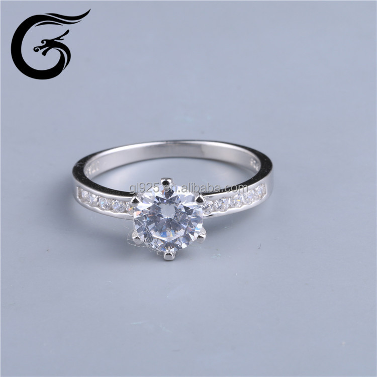GuoLong new arrival 925 sterling silver jewelry classic engagement ring AAA cube CZ diamond ring for women jewelry