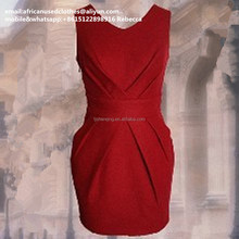 used clothing /used clothing baled used clothes,lady waist slimming red colour dress