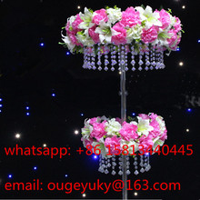 Two tiers crystal chandelier flower stand , wedding aisle decor centerpieces for stage