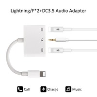 New design 3 in 1 DC 3.5mm jack audio charger adapter for iPhone