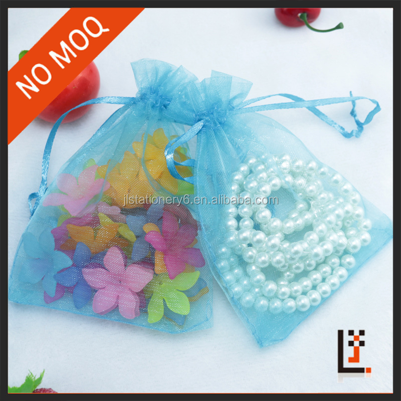 NO MOQ 13*18cm sheer light blue small mesh gift bag for gift