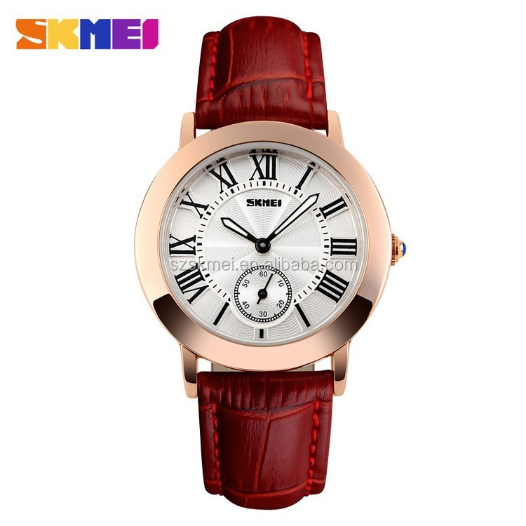 Wholesale leather strap wrist watch for lady on alibaba express