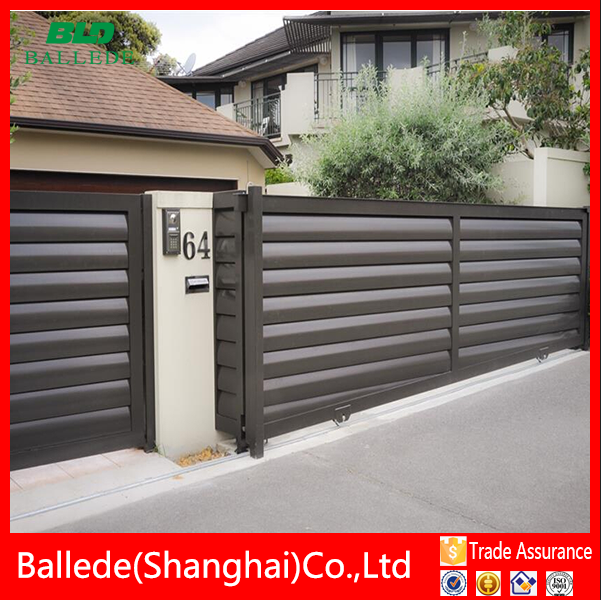 electric outdoor sliding louvre fence and fence gate